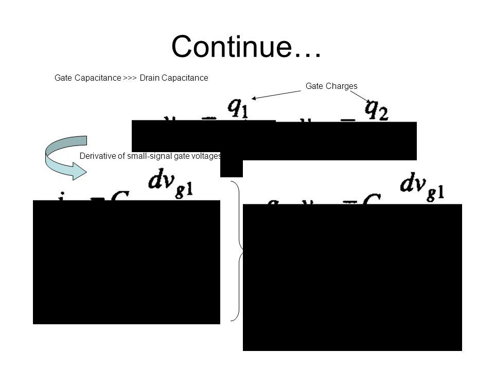 Continue… Gate Capacitance >>> Drain Capacitance Gate Charges