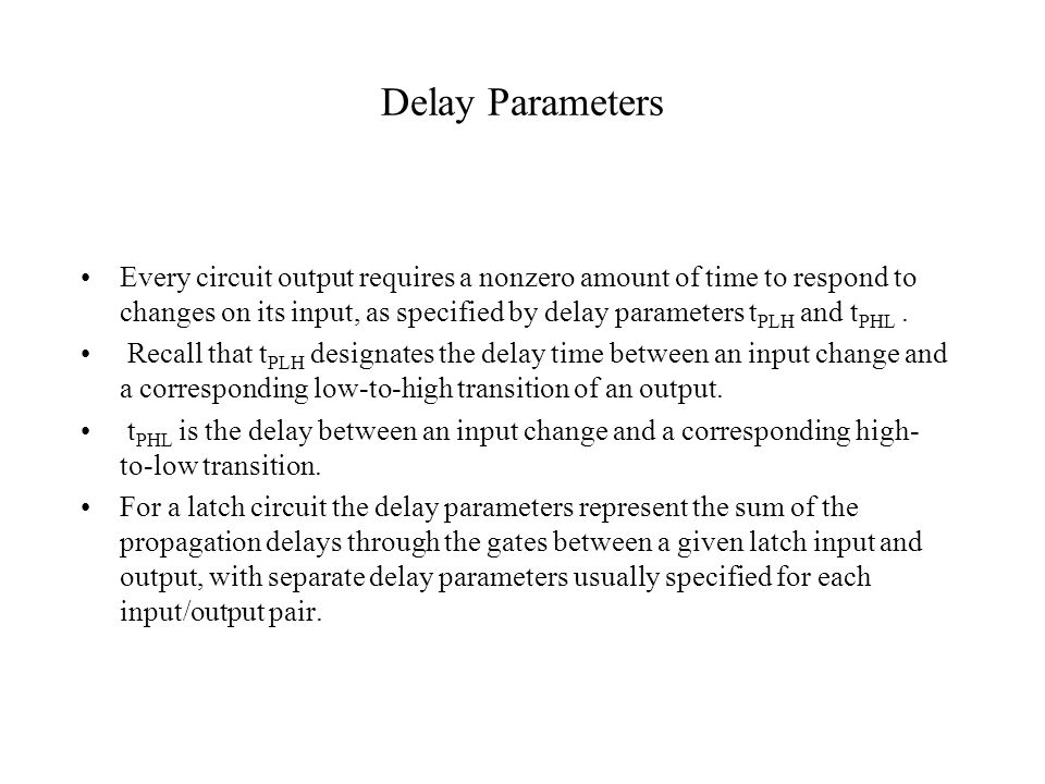Delay Parameters