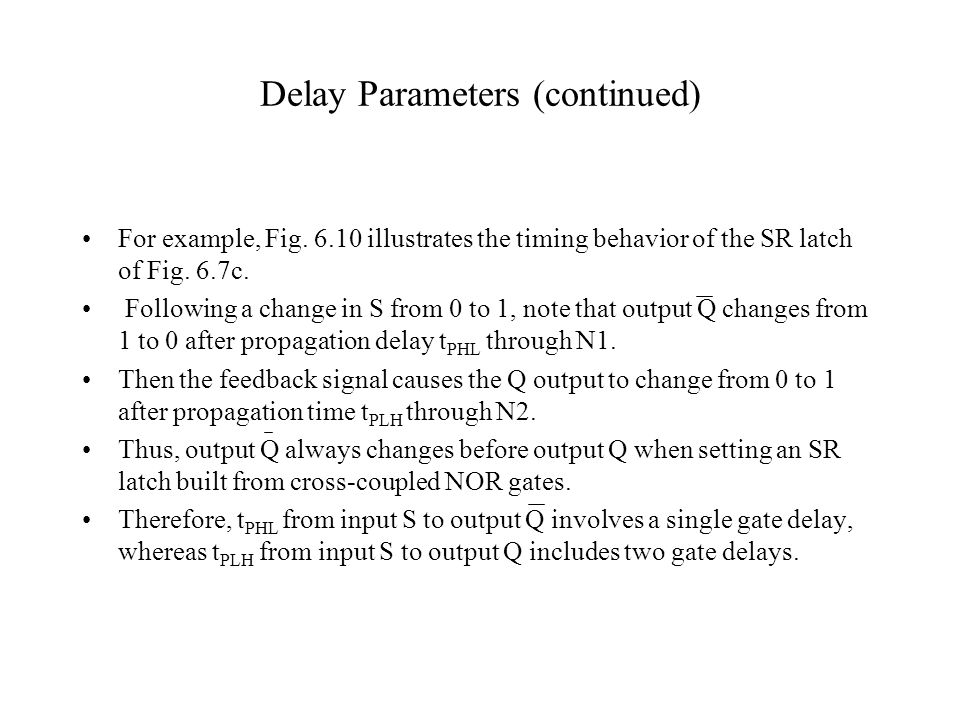 Delay Parameters (continued)