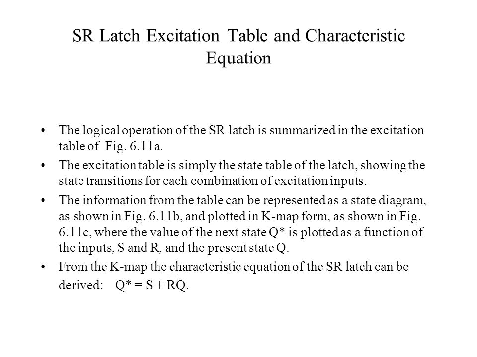 SR Latch Excitation Table and Characteristic Equation