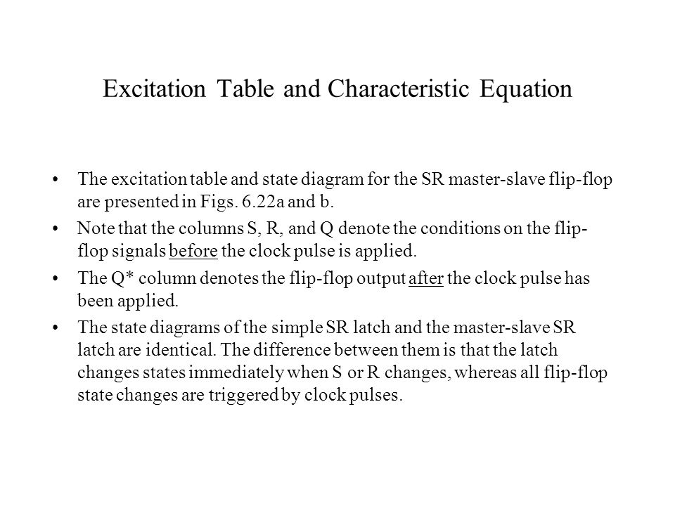 Excitation Table and Characteristic Equation