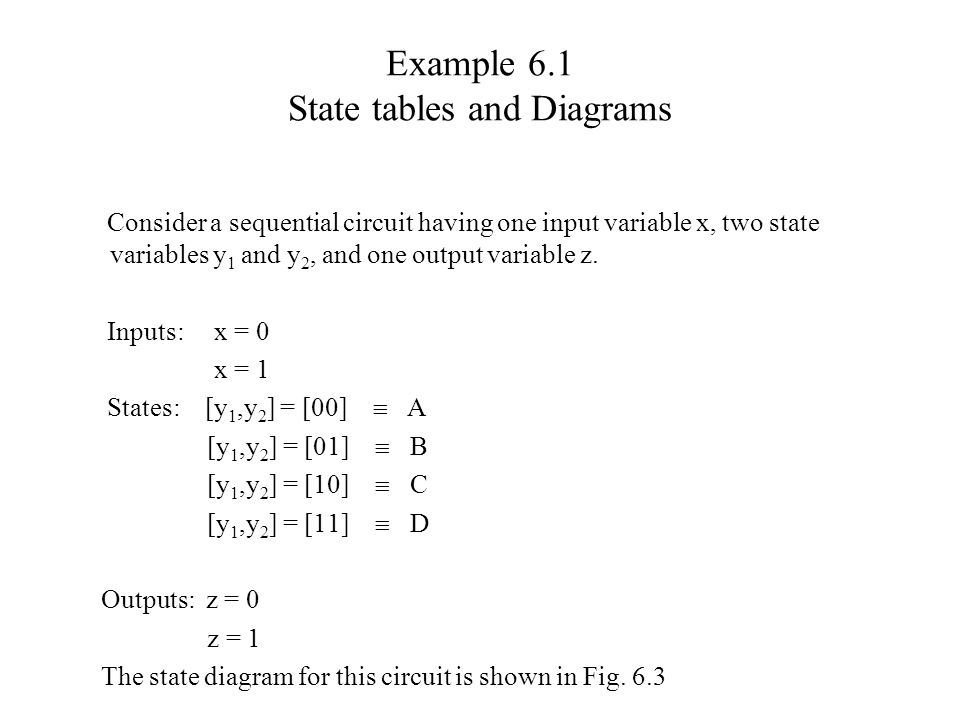 Example 6.1 State tables and Diagrams