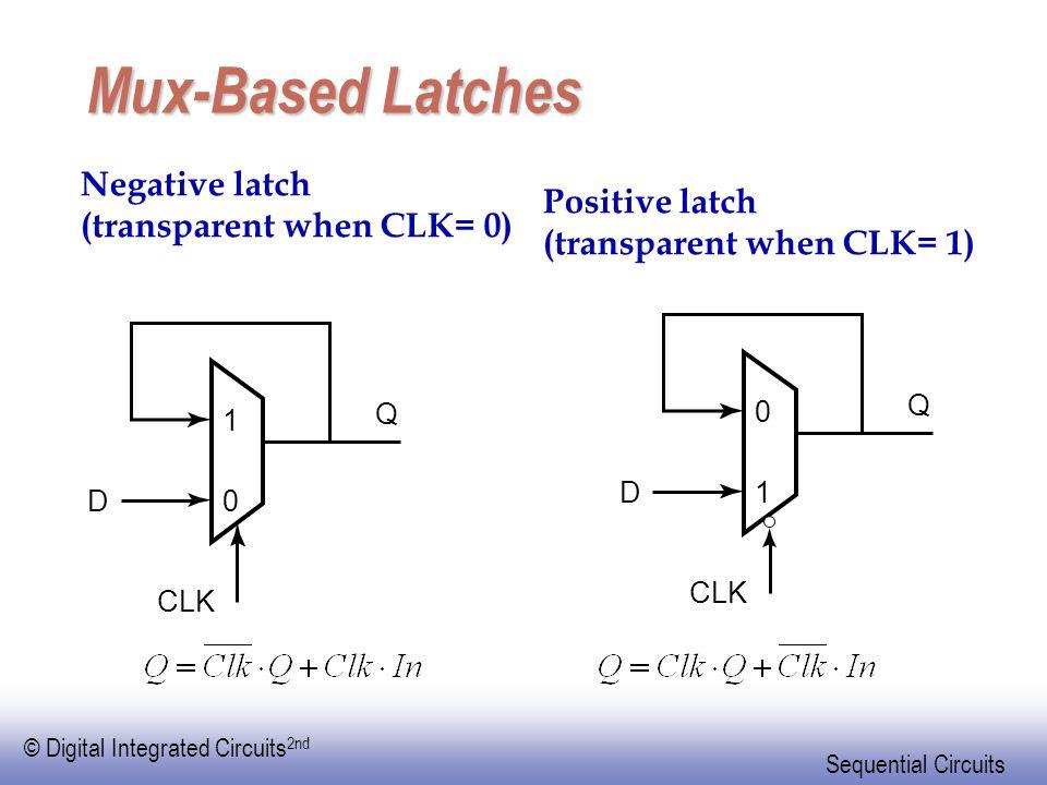 Mux-Based Latches Negative latch Positive latch