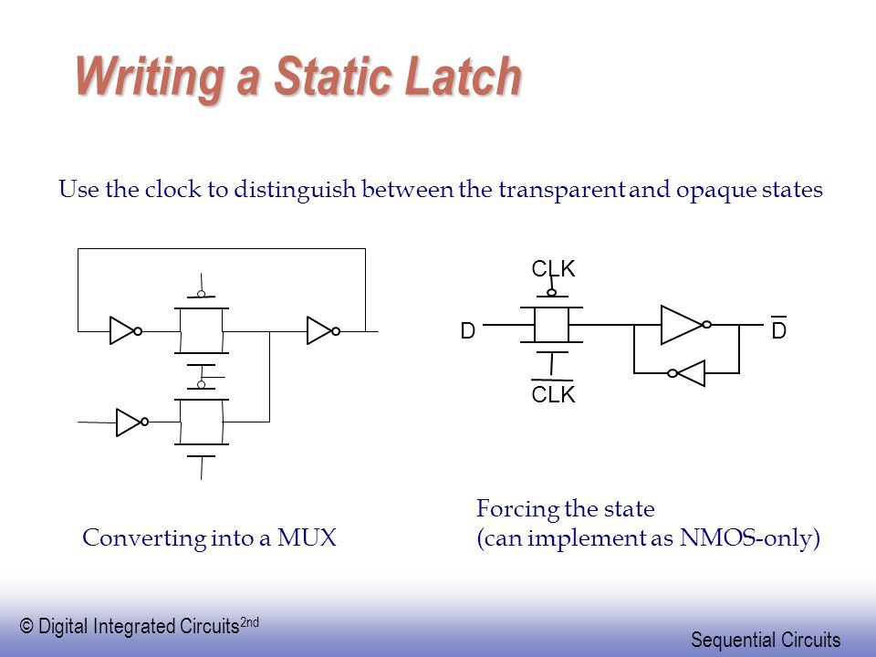 Writing a Static Latch Use the clock to distinguish between the transparent and opaque states. D. CLK.