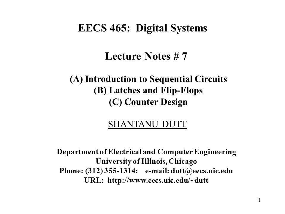 EECS 465: Digital Systems Lecture Notes # 7