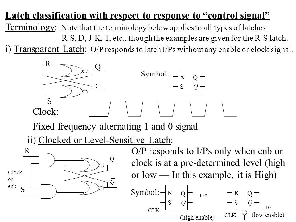 Latch classification with respect to response to control signal