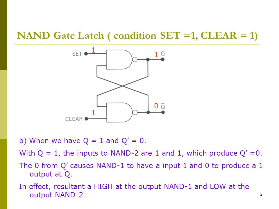 NAND Gate Latch ( condition SET =1, CLEAR = 1)