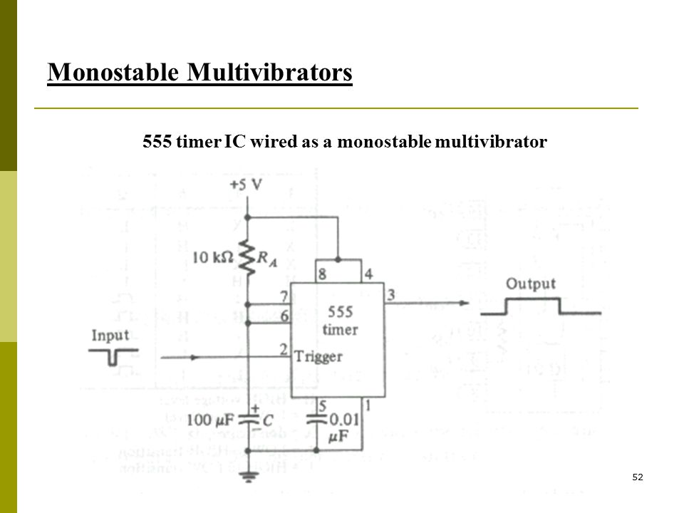 555 timer IC wired as a monostable multivibrator