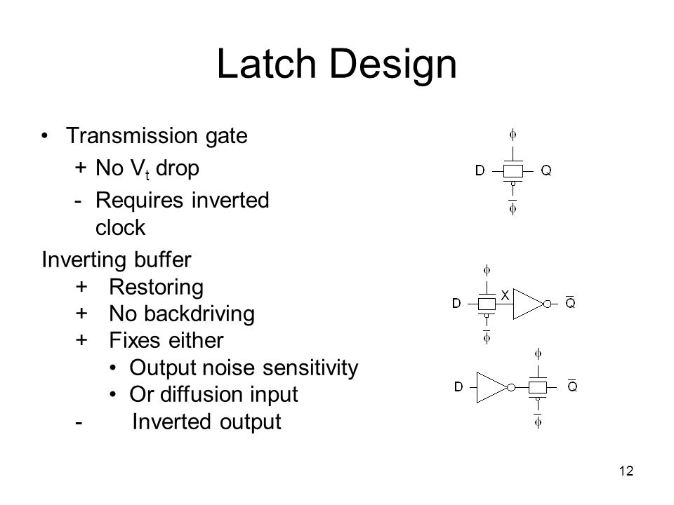 Latch Design Transmission gate + No Vt drop - Requires inverted clock
