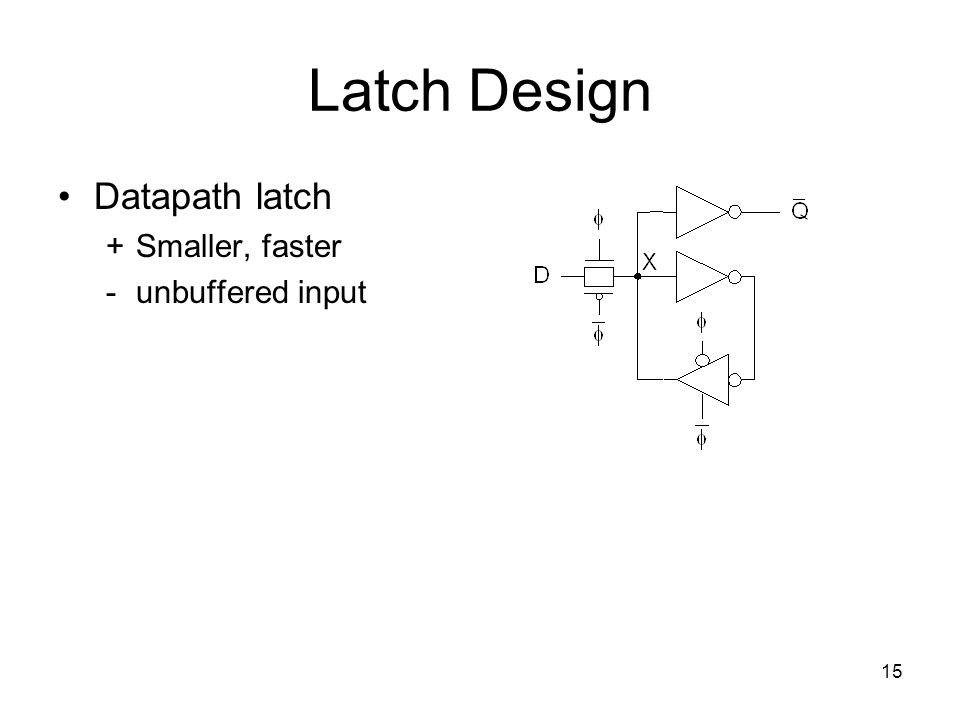Latch Design Datapath latch + Smaller, faster - unbuffered input