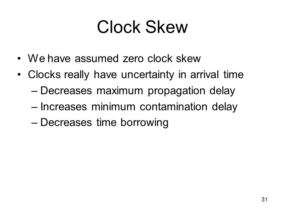 Clock Skew We have assumed zero clock skew