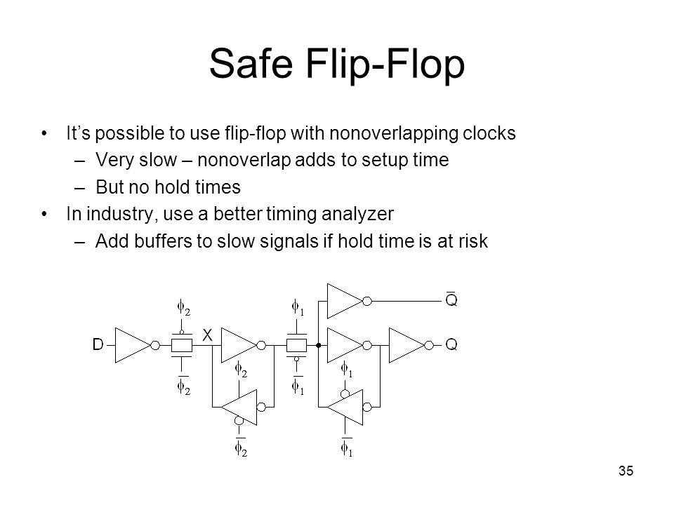 Safe Flip-Flop It's possible to use flip-flop with nonoverlapping clocks. Very slow – nonoverlap adds to setup time.