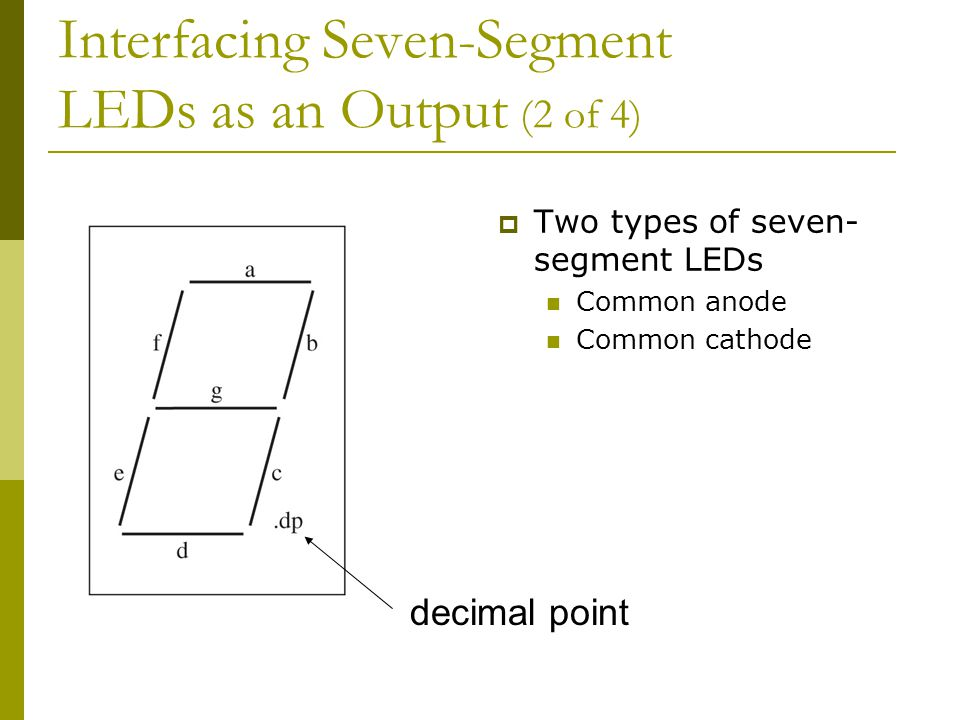 Interfacing Seven-Segment LEDs as an Output (2 of 4)