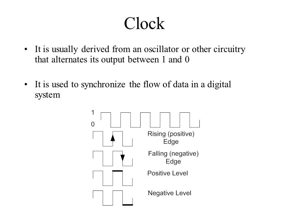 Clock It is usually derived from an oscillator or other circuitry that alternates its output between 1 and 0.
