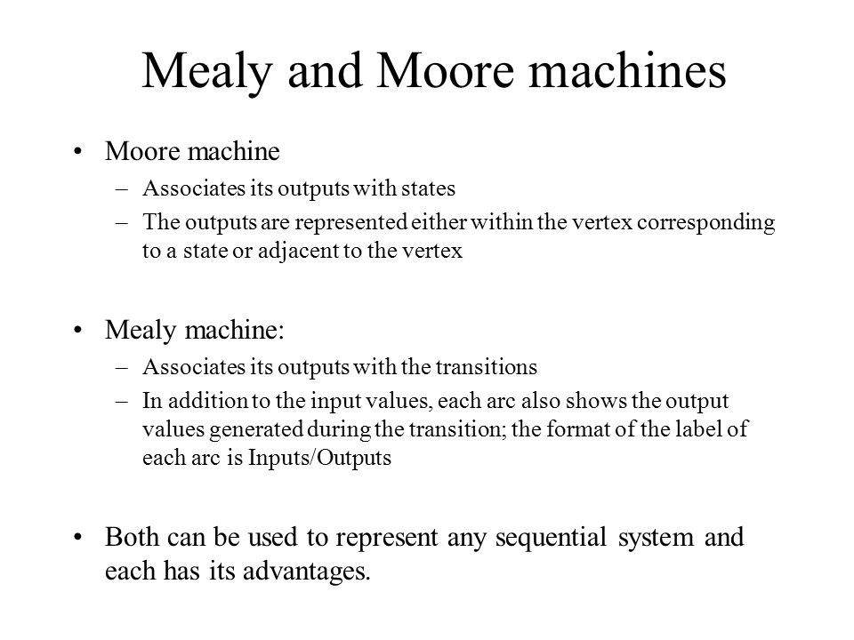 Mealy and Moore machines
