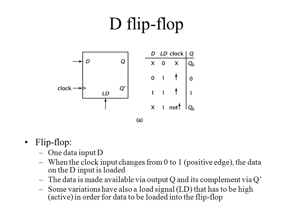 D flip-flop Flip-flop: One data input D
