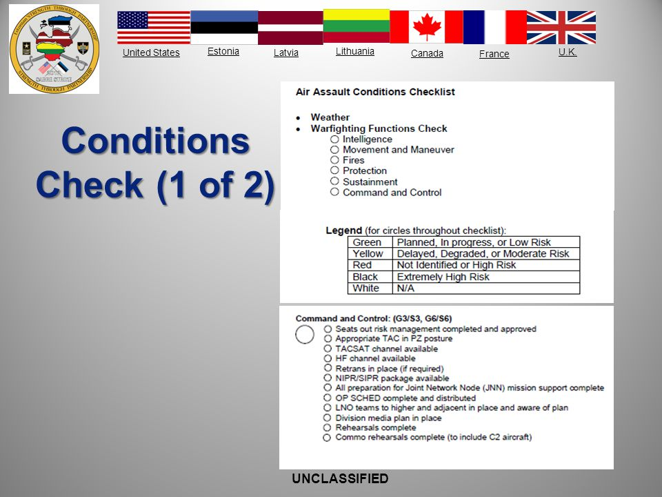 Conditions Check (1 of 2) UNCLASSIFIED