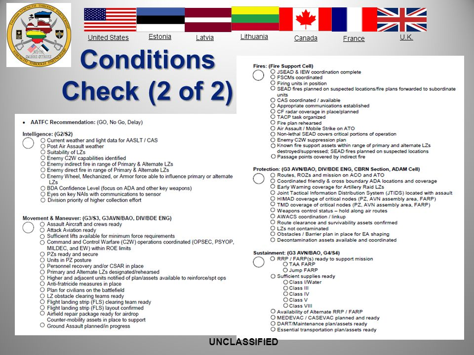 Conditions Check (2 of 2) UNCLASSIFIED