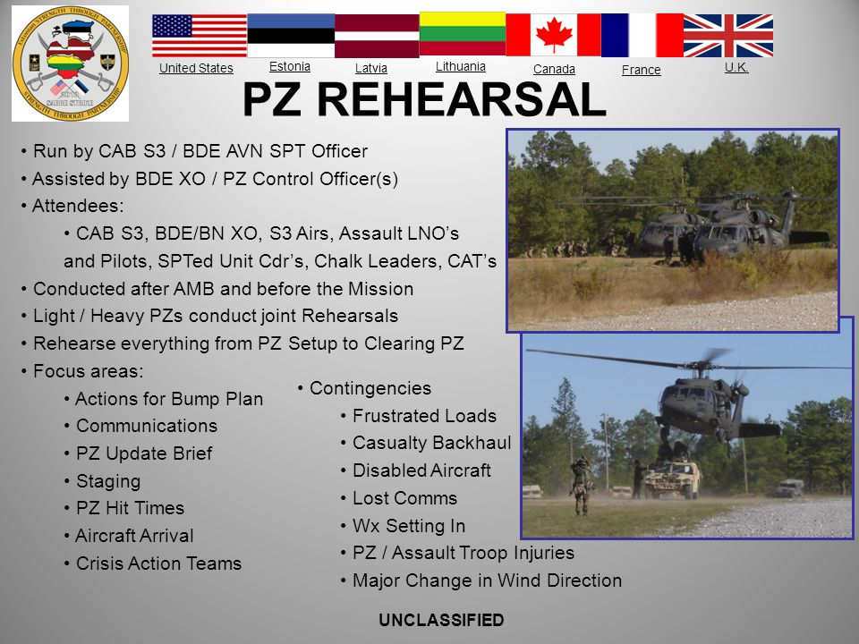 PZ REHEARSAL Run by CAB S3 / BDE AVN SPT Officer