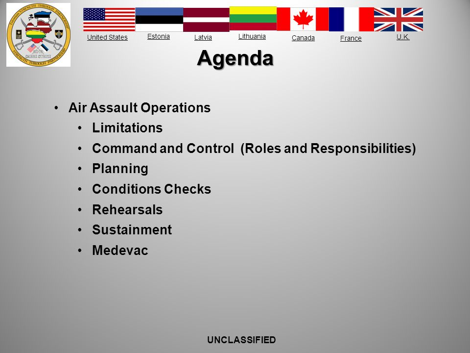 Agenda Air Assault Operations Limitations