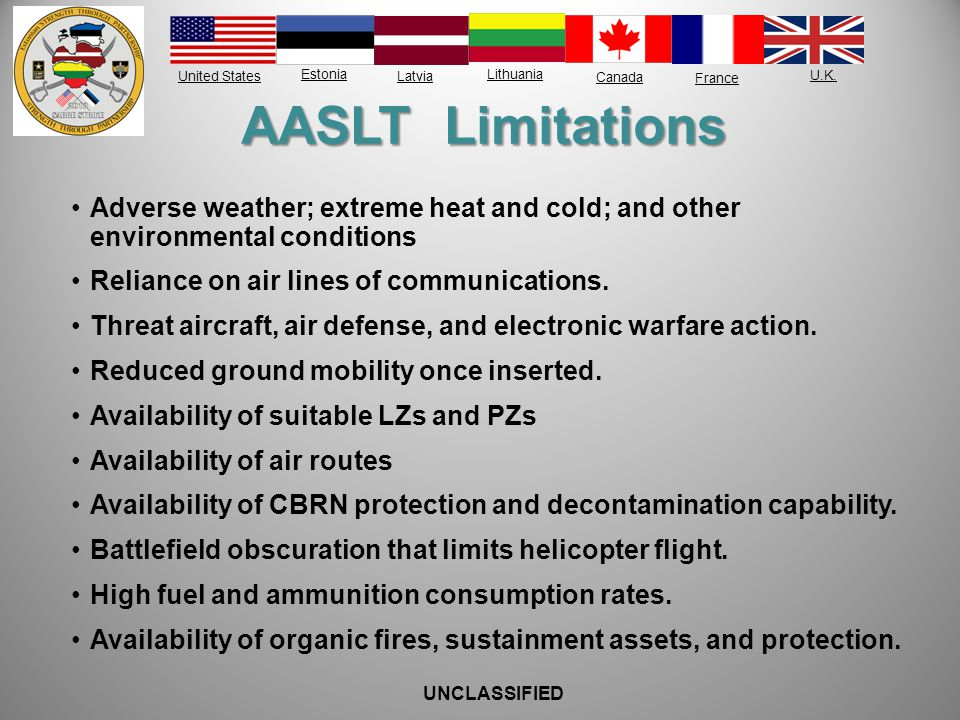 AASLT Limitations Adverse weather; extreme heat and cold; and other environmental conditions. Reliance on air lines of communications.