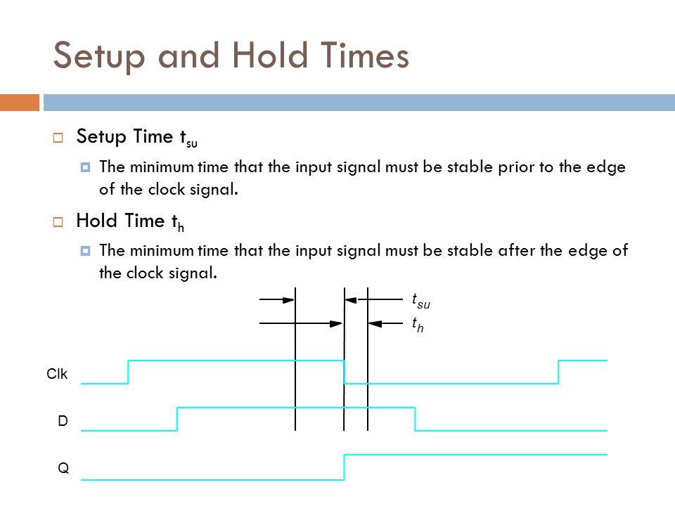 Setup and Hold Times Setup Time tsu Hold Time th