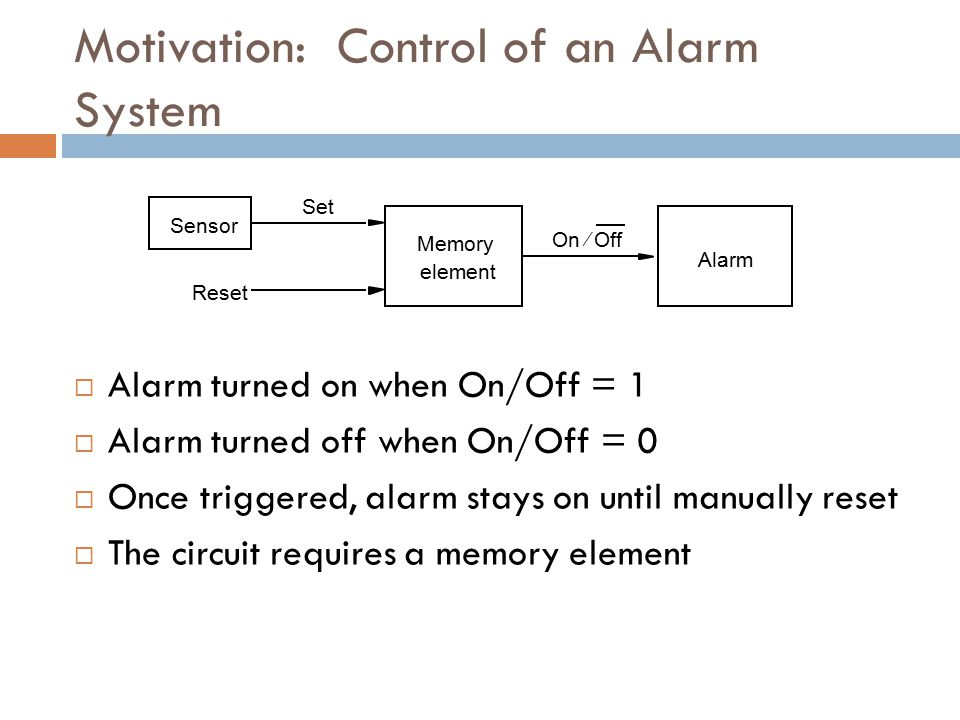 Motivation: Control of an Alarm System
