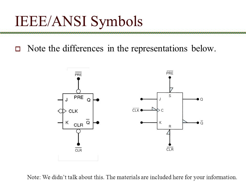 IEEE/ANSI Symbols Note the differences in the representations below.
