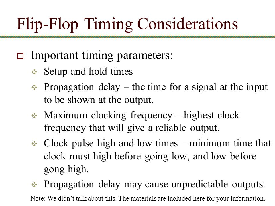 Flip-Flop Timing Considerations