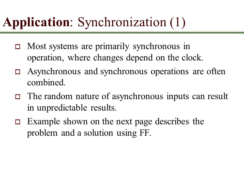 Application: Synchronization (1)