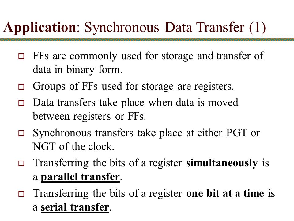 Application: Synchronous Data Transfer (1)