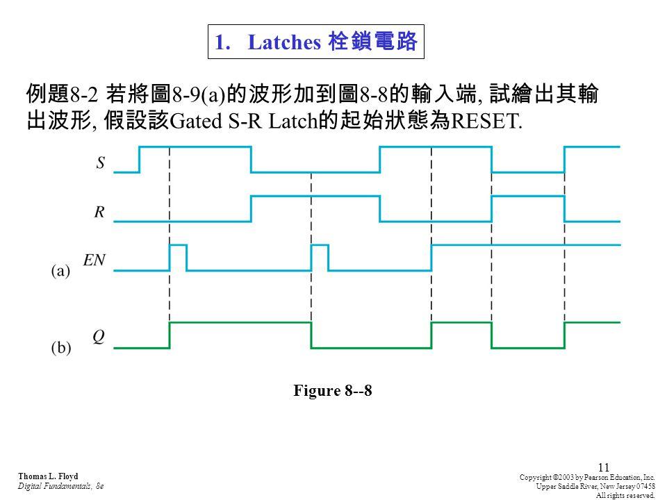 例題8-2 若將圖8-9(a)的波形加到圖8-8的輸入端, 試繪出其輸出波形, 假設該Gated S-R Latch的起始狀態為RESET.