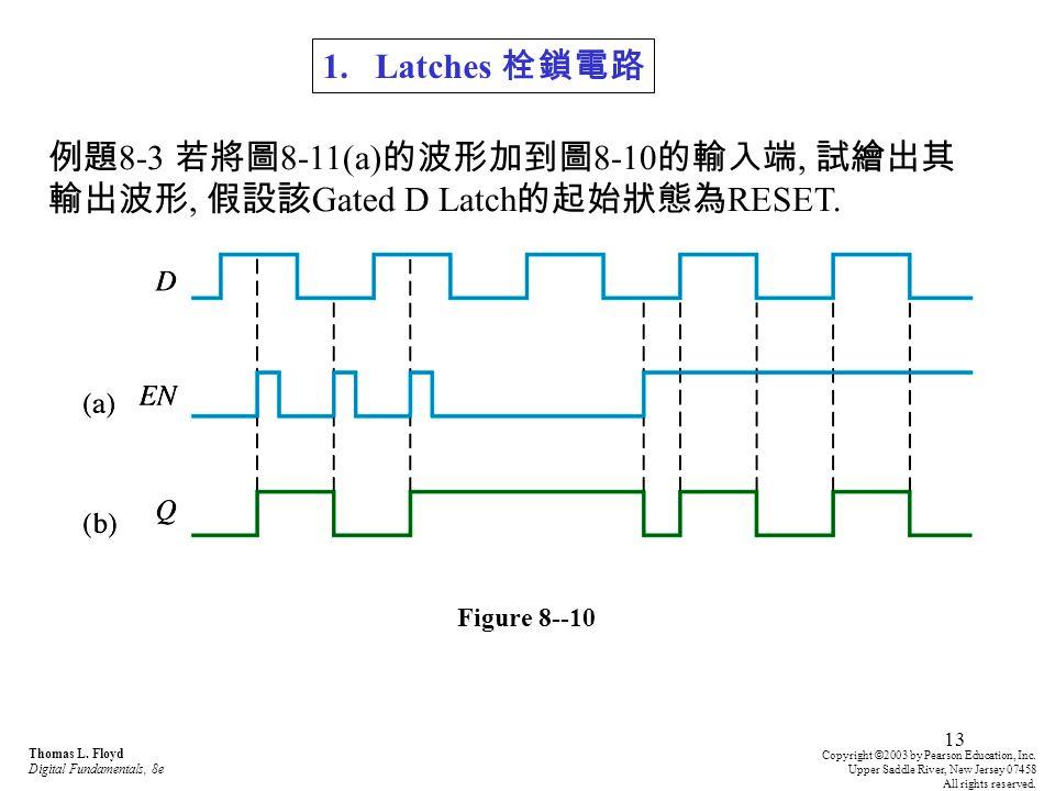 例題8-3 若將圖8-11(a)的波形加到圖8-10的輸入端, 試繪出其輸出波形, 假設該Gated D Latch的起始狀態為RESET.