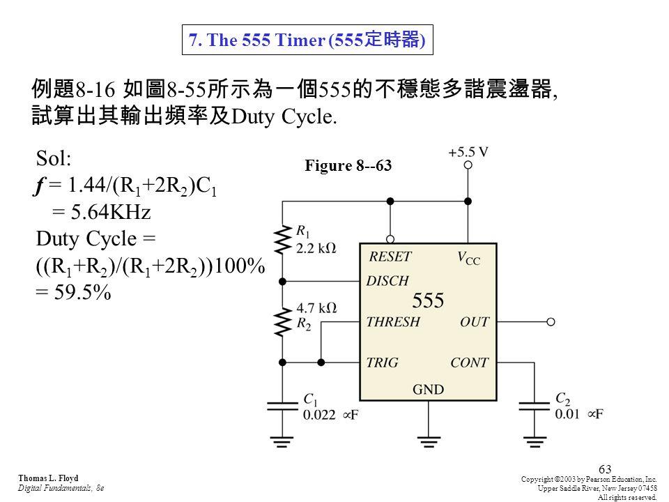 例題8-16 如圖8-55所示為一個555的不穩態多諧震盪器, 試算出其輸出頻率及Duty Cycle.