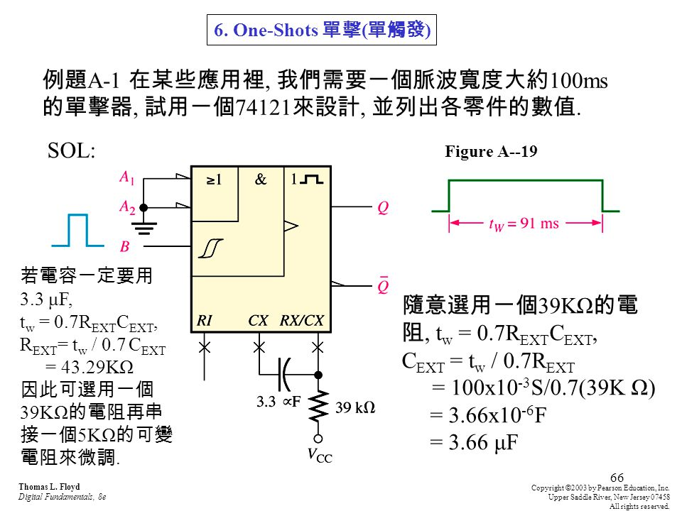 例題A-1 在某些應用裡, 我們需要一個脈波寬度大約100ms的單擊器, 試用一個74121來設計, 並列出各零件的數值.