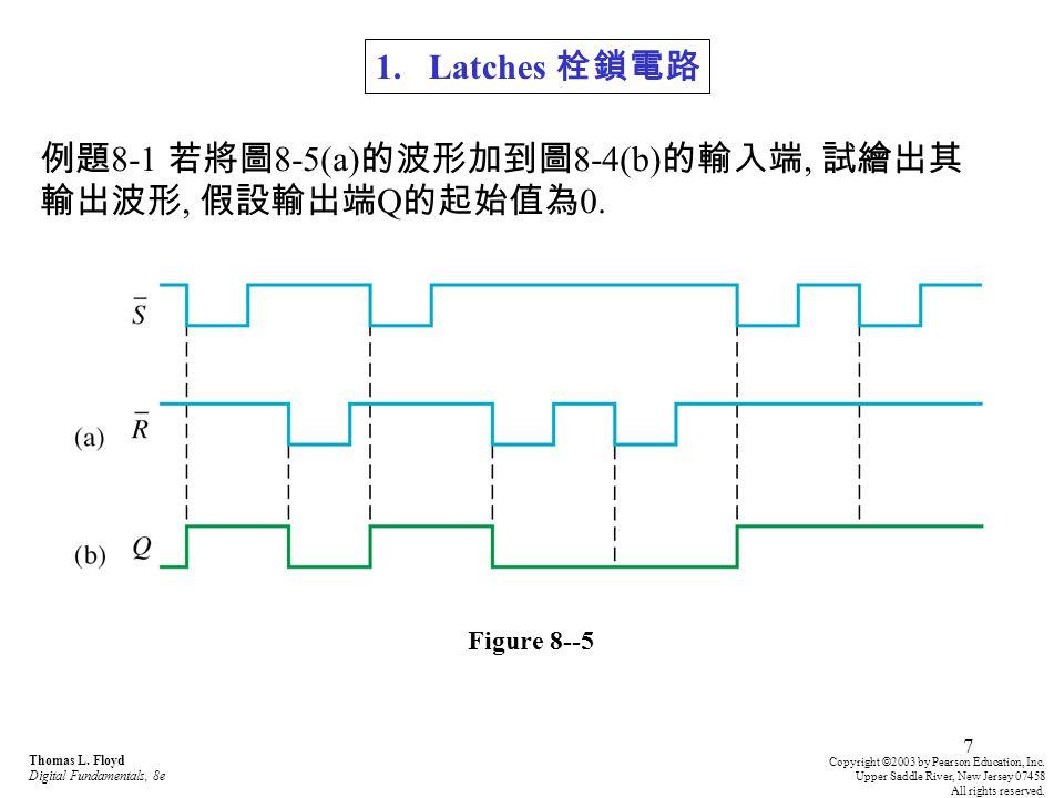 例題8-1 若將圖8-5(a)的波形加到圖8-4(b)的輸入端, 試繪出其輸出波形, 假設輸出端Q的起始值為0.