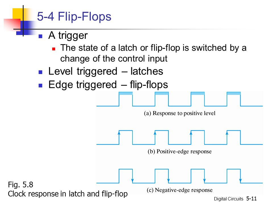 5-4 Flip-Flops A trigger Level triggered – latches