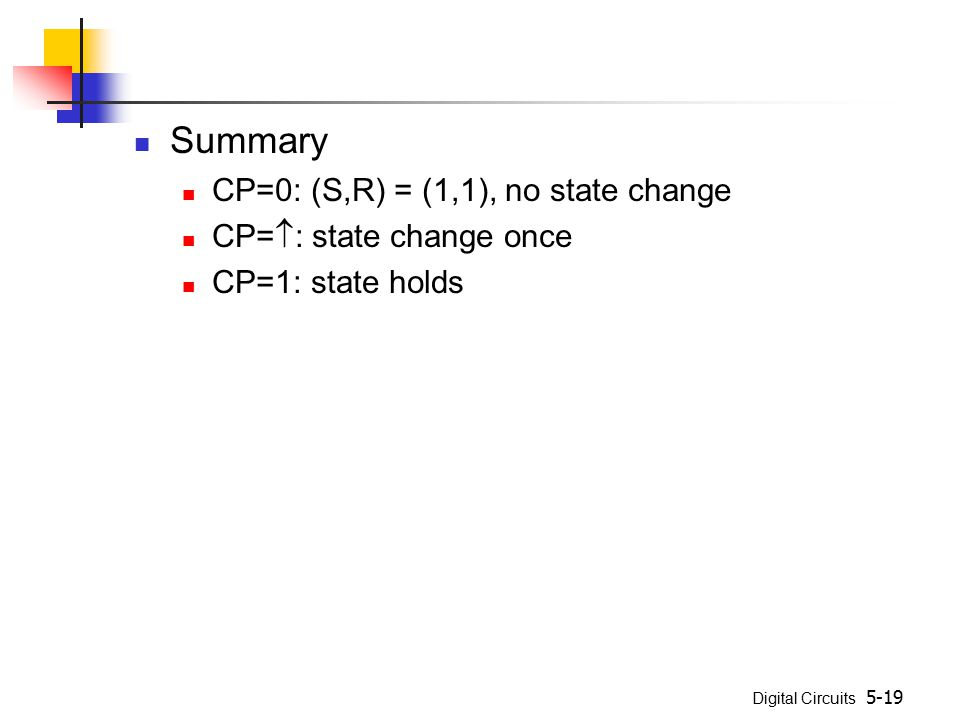 Summary CP=0: (S,R) = (1,1), no state change CP=: state change once