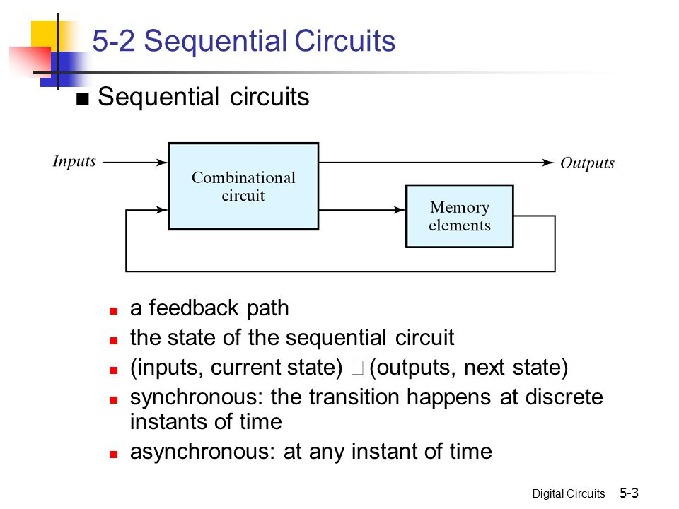 5-2 Sequential Circuits ■ Sequential circuits a feedback path