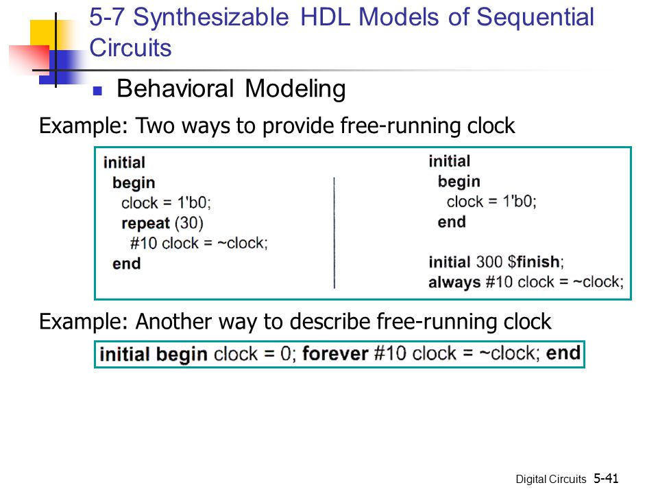 5-7 Synthesizable HDL Models of Sequential Circuits