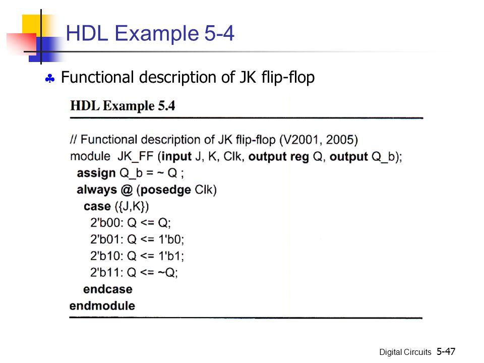 HDL Example 5-4  Functional description of JK flip-flop