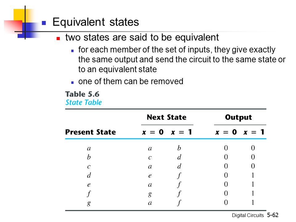 Equivalent states two states are said to be equivalent