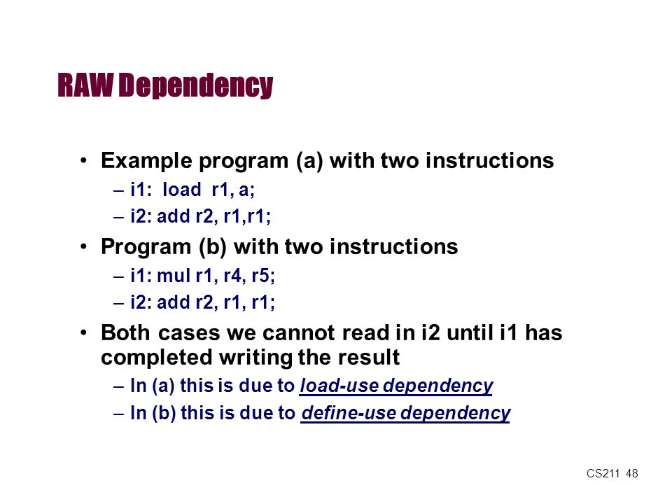RAW Dependency Example program (a) with two instructions