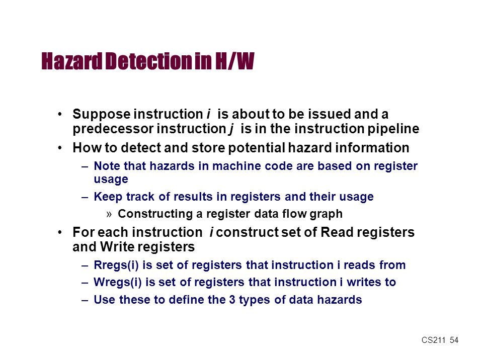 Hazard Detection in H/W