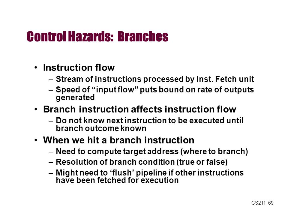 Control Hazards: Branches