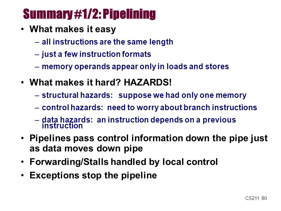 Summary #1/2: Pipelining