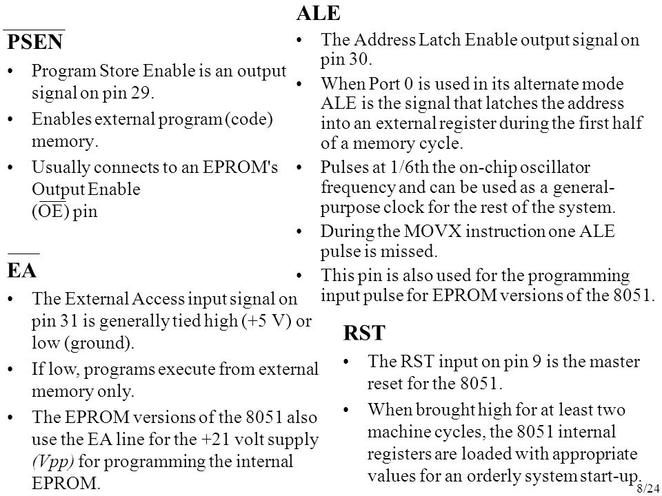 ALE PSEN EA RST The Address Latch Enable output signal on pin 30.