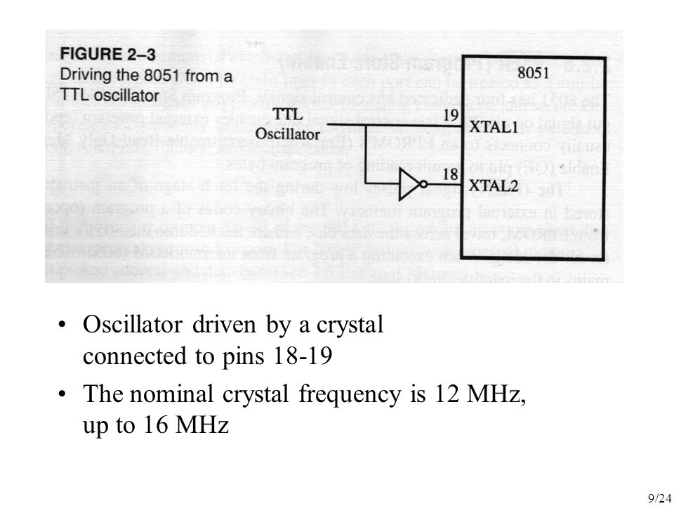 Oscillator driven by a crystal connected to pins 18-19