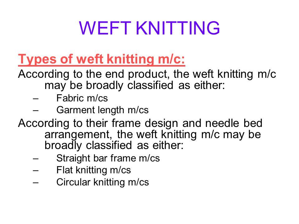 WEFT KNITTING Types of weft knitting m/c: