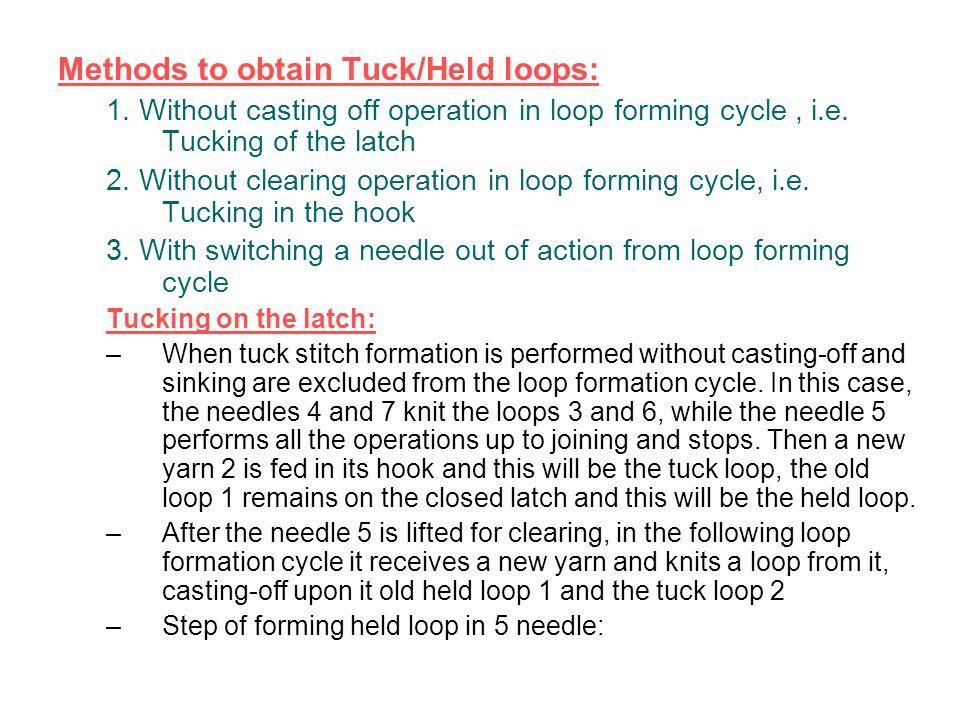 Methods to obtain Tuck/Held loops: